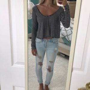 Hollister cropped long sleeve with stripes